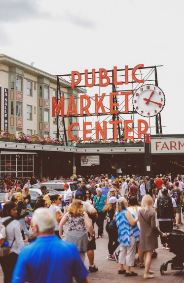 The Pike Place Market overlooks the Elliott Bay waterfront in Seattle