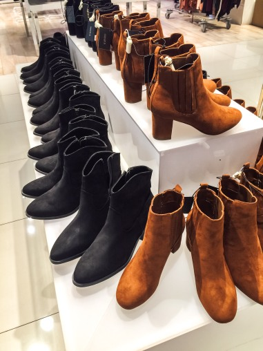 Black and brown booties at Forever 21