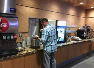 The soda machine, coffee/tea/hot chocolate machine, and food available