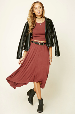 Leather jackets and flowy skirts