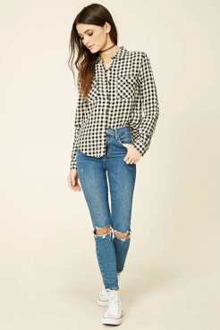 Ripped jeans and plaid