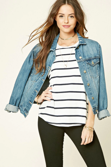 Striped tops and jean jackets