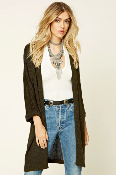 Bold necklaces and long cardigans